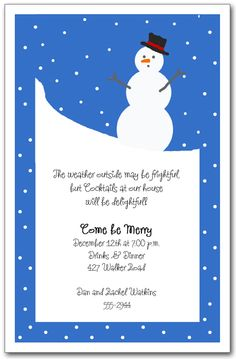 Snowman on BlueHoliday Invitation, Winter Invitations