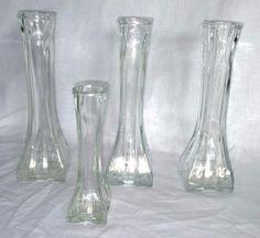 "Lot of 4 - VTG 1986 Europa Glass Bud Vase 1408    6"" and 8.5"" square base #Europa"