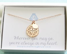 Best Friend Gift • Rose Gold Compass & Heart • Journey Necklace • Sentimental Gift • Traveler Gift • Compass Rose Charm • Bon Voyage Gift by ShopSomethingBlue on Etsy https://www.etsy.com/listing/453457930/best-friend-gift-rose-gold-compass-heart