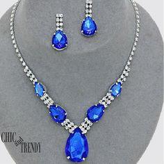 CLEARANCE BLUE & CLEAR RHINESTONE CRYSTAL WEDDING FORMAL JEWELRY SET CHIC TRENDY #Unbranded