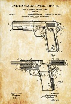 A patent print poster of a M1911 pistol invented by John Browning. The patent was issued by the United States Patent Office on February 14, 1911. Patent prints allow you to have a piece of history in your Home, Office, Man Cave, Geek Den or anywhere you wish to add an interesting touch. COLORS AND ...