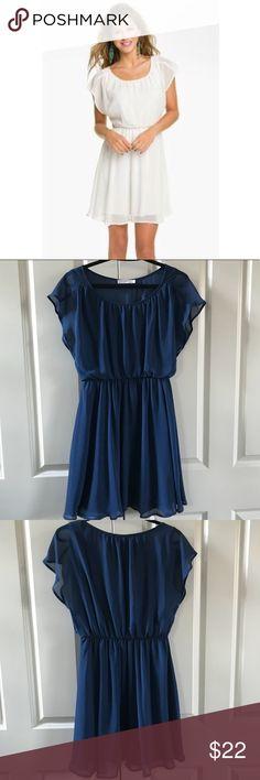 b6ce66d6c3b3 Lush Nordstrom Chiffon Blouson Navy Dress SZ MED Lush for Nordstrom Blouson  Style Dress Flutter Sleeves