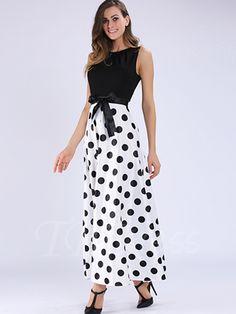 Polka Dots Color Block Women's Maxi Dress  - m.tbdress.com