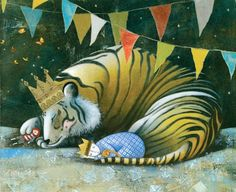 "20 of the most beautiful children's books in the world - this comes from ""Sleep Like A Tiger"" Written by Mary Logue, Illustrated by Pamela Zagarenski"