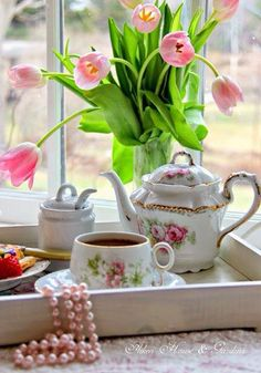 ...there's something about serving tea on a wooden tray that I find very appealing!...