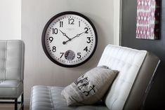 """Oversized Terrace 29"""" Wall Clock Farmhouse Wall Clocks, Lunch Room, Terrace Design, Second Hand, Wood Colors, Simple Designs, Decorative Pillows, Wall Decor, House Design"""