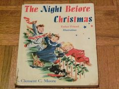 Vintage Clement C Moore Big Book The Night Before Christmas 1949 None Christmas Books, Vintage Christmas, Little Country Girls, Book Illustration, Illustrations, Girl Artist, Twas The Night, Santa Clause, Old Fashioned Christmas