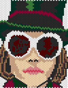 Johnny Depp as Willy Wonka in glasses Pony Bead Patterns, Kandi Patterns, Hama Beads Patterns, Peyote Patterns, Beading Patterns, Cross Stitch Designs, Cross Stitch Patterns, Pixel Art Templates, Beaded Banners