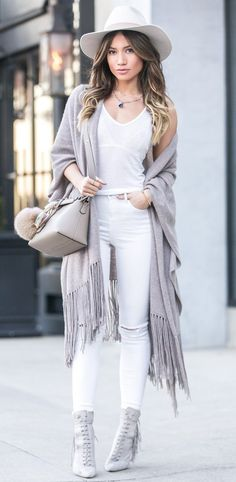 #winter #fashion / Grey Frindge Cape + White Tank Top