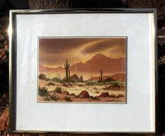 "http://stores.ebay.com/mariasantiqueandvintage Jerry Becker Original Watercolor Painting ""Evening Mood"" No. 8 Desert Southwest #Realism"