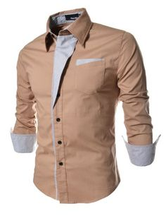 TheLees Mens Casual Long Sleeve Stripe Patched Fitted Dress Shirts $26.99 (29% OFF)