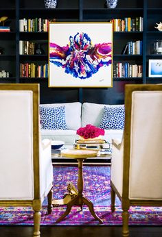 2016 Home Style - Colorful Rugs and Curtains To Shake Up The New Year Purple and Inidgo Family Room with persian rug and abstract artwork