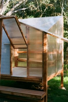 The sauna is raised above the ground using four wooden stilts in order to minimise its impact on the surrounding environment. Sauna Design, Steam Sauna, Diving Board, Outdoor Retreat, Construction Process, Reclaimed Timber, Cabins In The Woods, Prefab, Cladding