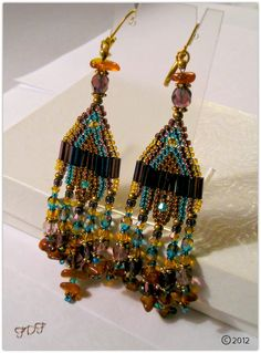 Native Indian Styled Seed Bead Earrings, Chandelier Earrings, Beaded Fringe With Mixed Media,  Fall 2012
