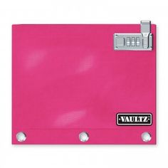 Perfect for securing school supplies, small valuables, and anything else you want to keep locked up!  Features:   *Fits on standard 3-Ring Binder *1680D Ballistic Nylon Construction provides strength and durability *Patent pending locking zipper uses the zipper pull as the latch for the convenient and sturdy combination lock pad *Pink