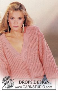 DROPS sweater in English rib with v-neck knitted in Paris ~ DROPS Design