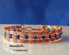 Turquesa pulsera de cobre de cristal estilo por MaxxBelleCreations