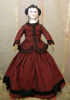 "18"" All Original Countess Dagmar China Doll On Corsetted Goldsmith from kathylibratysantiques on Ruby Lane"
