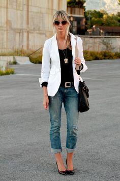 denim/black/white outfit