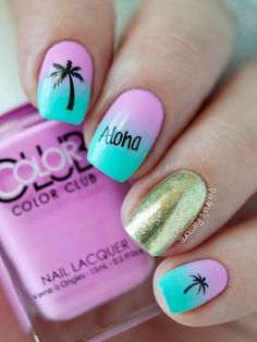 "If you're unfamiliar with nail trends and you hear the words ""coffin nails,"" what comes to mind? It's not nails with coffins drawn on them. It's long nails with a square tip, and the look has. Cute Acrylic Nails, Cute Nails, Hawaiian Nails, Aloha Nails, Tropical Nail Art, Tropical Nail Designs, Style Tropical, Palm Tree Nails, Vacation Nails"