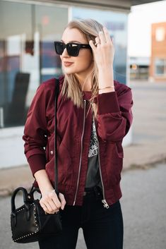 Burgundy Bomber Jacket - Photo Styling for Ecommerce - Jackets Burgundy Bomber Jacket, Maroon Jacket, Pastel Outfit, Burgundy Outfit, Outfits Mujer, Casual Outfits, Fashion Outfits, Women's Fashion, Shearling Jacket