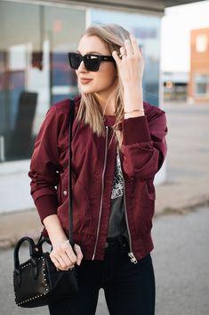 Burgundy Bomber Jacket - Photo Styling for Ecommerce - Jackets Burgundy Bomber Jacket, Maroon Jacket, Bomber Jacket Outfit, Pastel Outfit, Indie, Burgundy Outfit, Outfits Mujer, Casual Outfits, Fashion Outfits