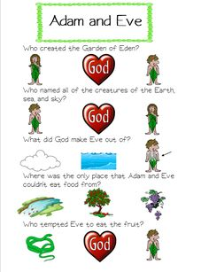 One of my Adam and Eve quiz type worksheet is now available Here on Teachers Pay Teachers! Go check it out and download!