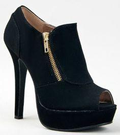 Amazon.com: Qupid GAZE-311 Platform High Heel Peep Toe Zipper Detail Ankle Boot Bootie: Shoes