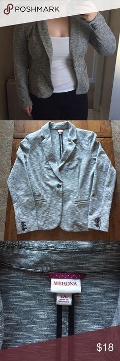 Light Gray Blazer Light grey blazer. Stretchy. Soft. Light weight. Shoulder pads. NEVER WORN!! Merona Jackets & Coats Blazers