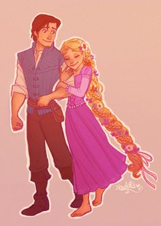 Flynn and Rapunzel by ~andells