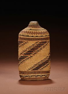 Northern California Basketry Covered Glass Flask