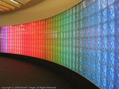 Rainbow glass block wall