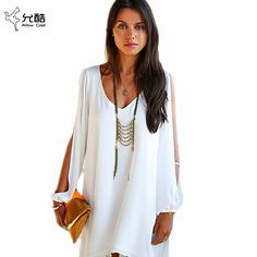 a903dc174 Summer Dress 2018 casual Plus Size Women Clothing Long sleeve solid color  Chiffon V Dress Vestidos Beach Dress Loose neck dress-in Dresses from  Women's ...