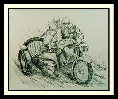 NSU-works-team 1938 ISDT, H. Dunz, driver., 14x17, graphite pencil, may 22, 2017.