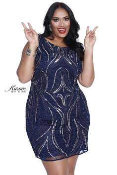 Kurves By Kimi Plus Size Navy/Silver Short Party Dress 71179 Front View Plus Size Sequin Dresses, Plus Size Party Dresses, Plus Size Outfits, Look Plus Size, Plus Size Women, Next Dresses, Short Dresses, Dresser, Plus Size Swimwear