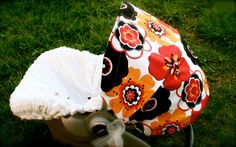 car seat cover- love the flower fabric