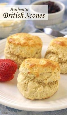 4 Points About Vintage And Standard Elizabethan Cooking Recipes! An Authentic British Scone Is The Perfect Accompaniment To Your Warming Cup Of Tea, Particularly If You Have Some Clotted Cream And Jam To Serve It With British Scones, British Cookies, British Tea Time, British Biscuits, Baking Recipes, Dessert Recipes, Scone Recipes, Dinner Recipes, Simply Yummy