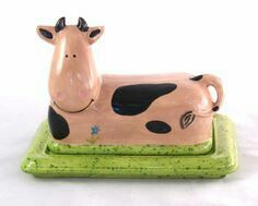 FINE China White Ceramic Farmhouse Cow Animal Butter Dish with LID Gift Xmas.