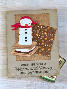 CottageBLOG: A Warm and Toasty Holiday Marshmallow Snowman, Girl Scout Camping, Snowman Cards, Alcohol Markers, Mft Stamps, Different Patterns, Girl Scouts, Stampin Up, Card Stock