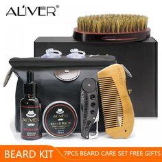 ALIVER 7pcs/set Men Beard Kit Styling Tool Beard Oil Comb Beard Bib Aprons Balm Moisturizing Wax Styling Scissors Beard Care Set Price: 15.66 & FREE Shipping #hashtag2 Mustache Grooming, Mens Beard Grooming, Beard No Mustache, Men's Grooming, Beard Wax, Beard Brush, Men Beard, Beard Suit, Stylish Beards