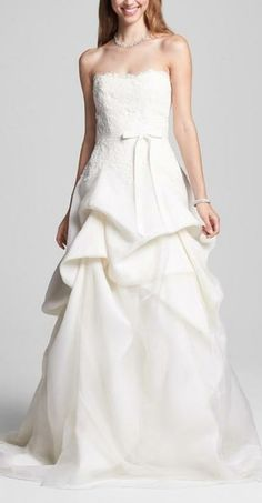 Bliss Monique Lhuillier lace bodice and chiffon tucked skirt wedding gown, at select Nordstrom Wedding Suites