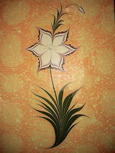 Ebru Çalışmalarım: Çiçekli (Lilyum) Ebru #6