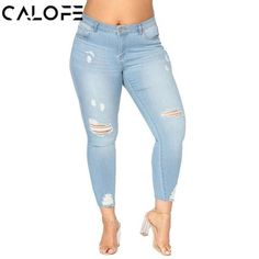 1d738ee4cb584 CALOFE High Waist Jeans 2018 Female Hollow Out Denim Pants Stretch Women  Ripped Skinny Denim Jeans
