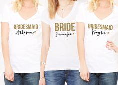 Glitter Wedding Shirts Personalized Bridal Party by ZCreateDesign