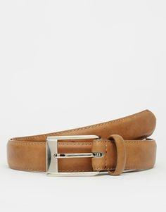 Cinturón de vestir en cuero sintético tostado con parte interior en contraste de ASOS
