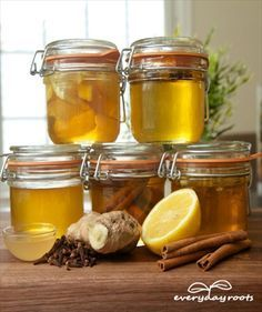 5 Homemade Healing Honey Infusions for a healthy Life - Lemon-Honey, Cinnamon-honey, Ginger-honey, Clove-honey, Apple Cider Vinegar honey, To Get Raw Honey: http://turtlemoonhealth.com/products/beelove-raw-honey