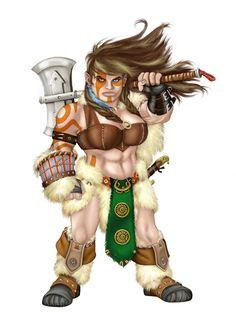 Female Dwarven Barbarian by Mfiorito.deviantart.com on @deviantART
