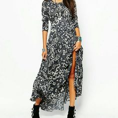 Free People First Kiss Dress Color: Shark Combo 100% Rayon Machine washable Free People Dresses Maxi