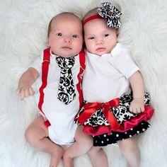 Boy and Girl Twins - Girls Ruffle Onesie Dress and Boys Suspender and Tie (short or long sleeve). $50.00, via Etsy.