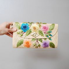 1970s Clutch Floral Embroidered Straw by OldFaithfulVintage, $15.00
